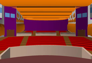 Rendered EASE picture of the Auditorium for the new TV center in Muscat / Oman