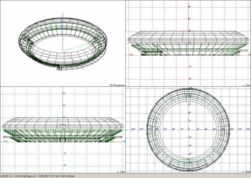 Wire frame model in EASE for the Cricket stadium in Dubai /UAE